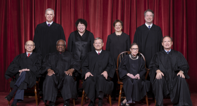 The nine justices of the US Supreme Court