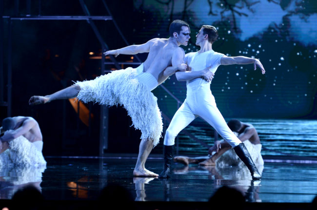 A performance of Swan Lake on stage during The Olivier Awards 2019 with Mastercard at the Royal Albert Hall on April 07, 2019 in London, England.