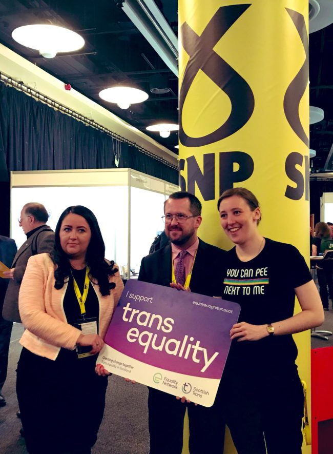 Angela Crawley, Stewart McDonald and Mhairi Black attended the SNP 19 conference. (Twitter/@AngelaCrawley30)