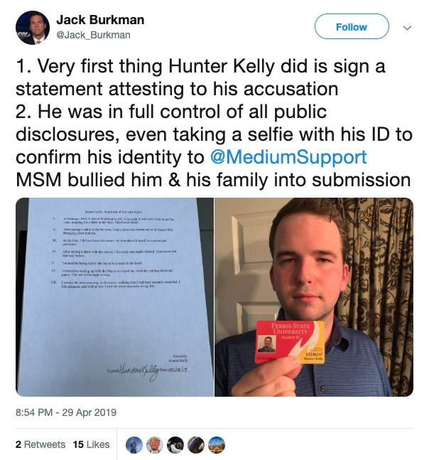 Photo of a tweet in which Jack Burkman stands by the fake sexual assault claims against Pete Buttigieg.