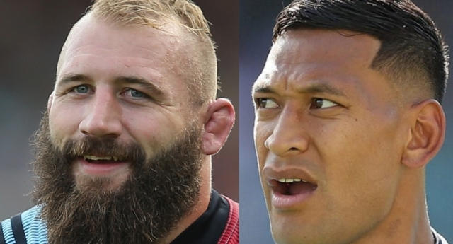 Joe Marler has been making fun of Israel Folau online. (Steve Bardens/Getty and Mark Metcalfe/Getty)
