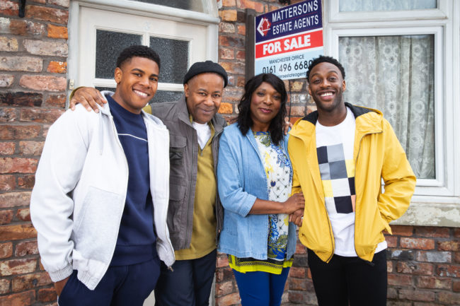 New Coronation Street characters James (Nathan Graham), Edison (Trevor Michael Georges), Aggie (Lorna Laidlaw) and Michael (Ryan Russell)