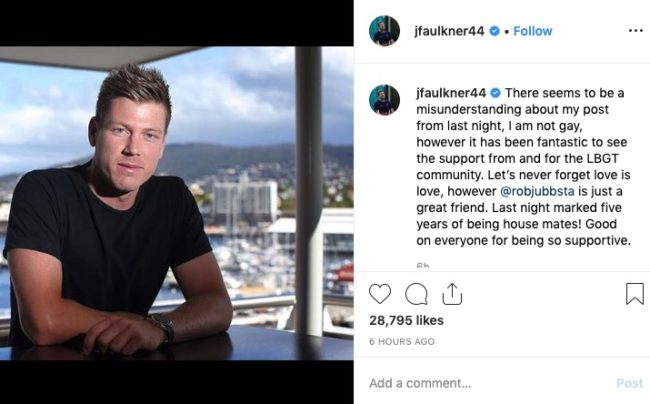 Australian cricketer James Faulkner clarified the meaning of his previous post.