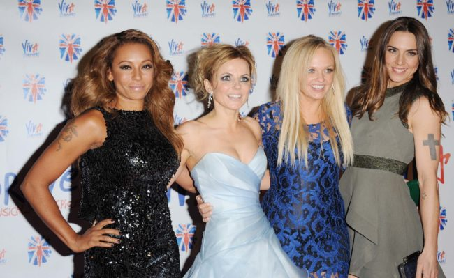 Melanie Brown, Geri Halliwell, Emma Bunton and Melanie Chisholm attend the after party for the press night of 'Viva Forever', a musical based on the music of The Spice Girls at Victoria Embankment Gardens on December 11, 2012 in London, England.