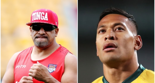 John Hopoate (L) and Israel Folau (R) (Hannah Peters/Getty and Matt King/Getty)