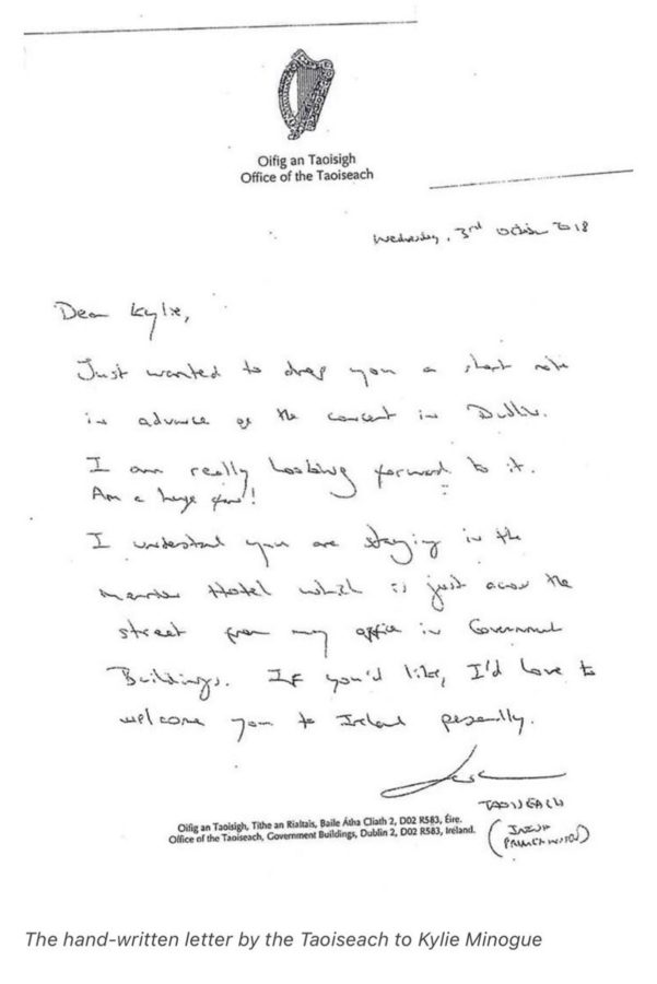The letter that Leo Varadkar wrote to Kylie Minogue.