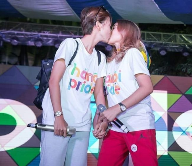 Minh Thu and Truc Nhu, who met on The Bachelor, at Hanoi Pride in 2018.