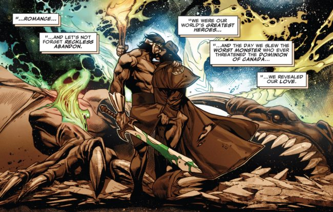 "2013 Marvel comic book ""X-Treme X-Men"" shows Hercules and Wolverine declaring their love for each other and kissing, Marvel Cinematic Universe has yet to portray major same-sex relationships."