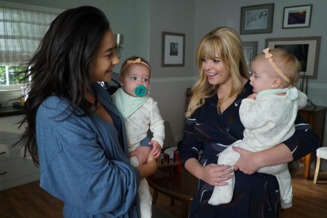 Pretty Little Liars characters Alison and Emily with their two daughters.