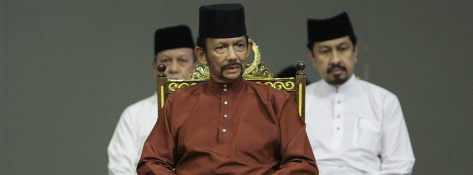 Brunei's Sultan Hassanal Bolkiah (C) attends an event in Bandar Seri Begawan on April 3, 2019. (AFP/Getty Images)