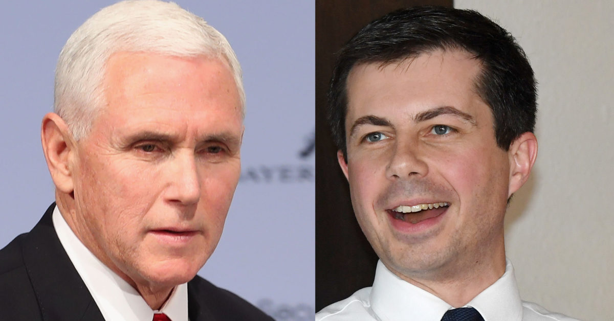 "Second Lady Karen Pence has claimed her husband, Vice President Mike Pence and presidential hopeful Pete Buttigieg have a ""great relationship."" (Alexandra Beier/Getty; Ethan Miller/Getty)"