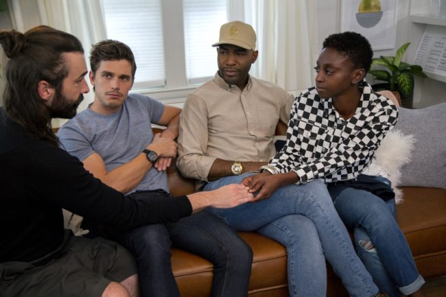 Queer Eye's Jonathan Van Ness, Antoni Porowski and Karamo Brown with Jess Guilbeaux.