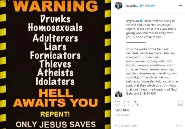 An Instagram post by Israel Folau which uses an anti-gay meme.