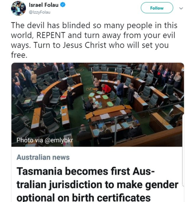 "A tweet by Israel Folau which states: ""The devil has blinded so many people in this world, REPENT and turn away from your evil ways."""