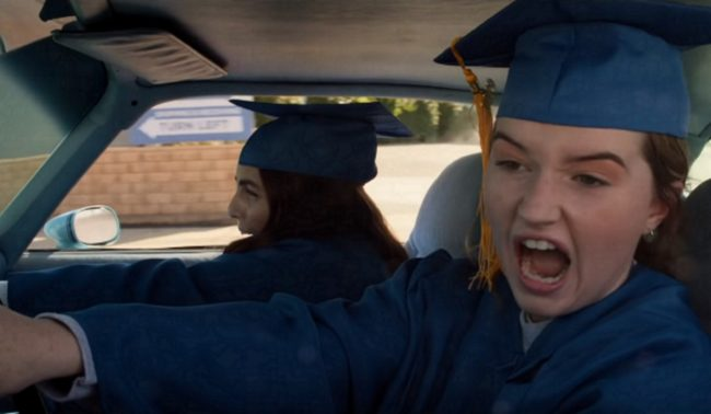 The two main characters drive a car in 2019 film Booksmart.