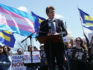 Democratic lawmakers joined activists to rally against the transgender military service ban. (Alex Wong/Getty Images)