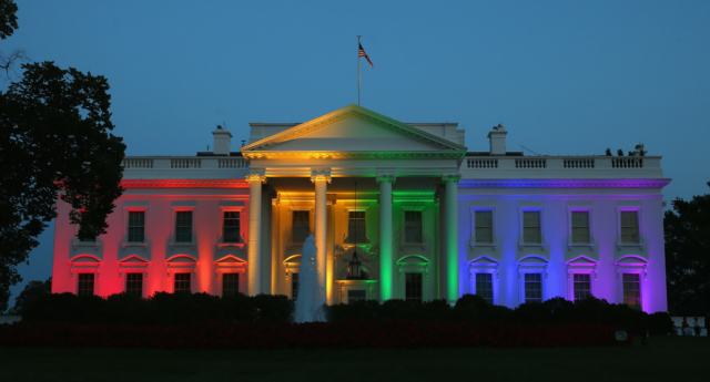 The White House was illuminated in a rainbow after the Supreme Court ruling (Photo by Mark Wilson/Getty Images)