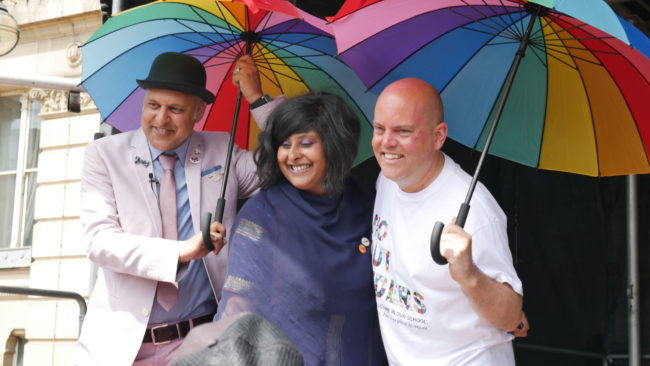 Gay Muslim activist Khakan Qureshi, lesbian Muslim campaigner Saima Razzaq, and 'No Outsiders' teacher Andrew Moffat led the parade
