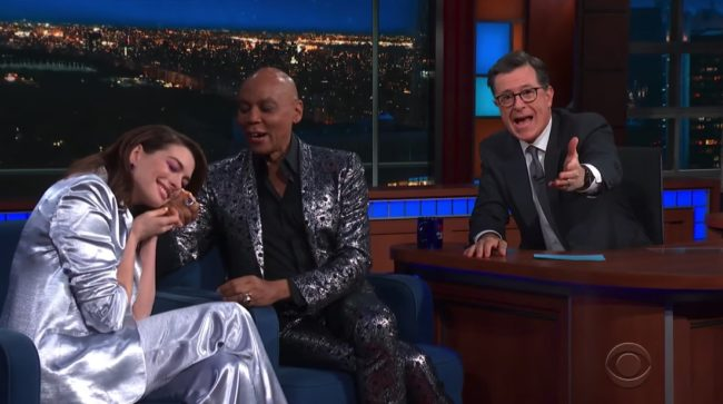 Anne Hathaway fangirling over RuPaul.