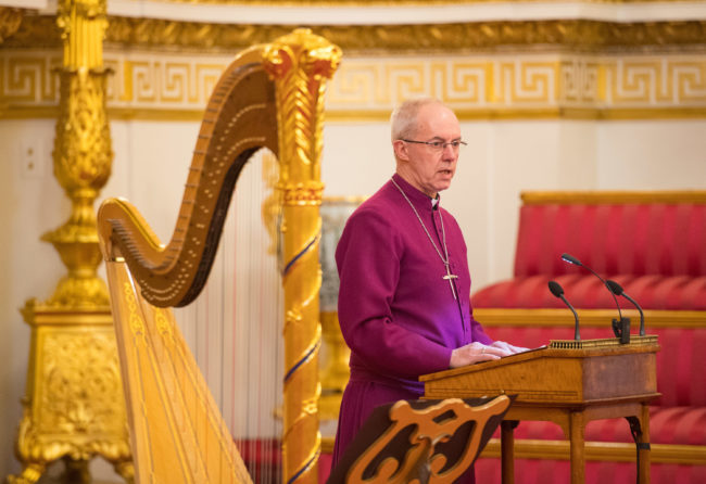 Lambeth Conference: Archbishop of Canterbury Justin Welby makes a speech during a reception to mark the 50th Anniversary of the investiture of The Prince of Wales at Buckingham Palace in London on March 5, 2019.
