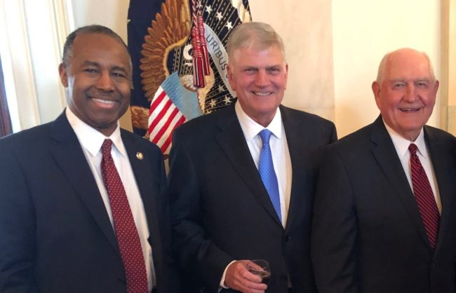Housing and Urban Development Secretary Ben Carson, Franklin Graham and Agriculture Secretary Sonny Perdue