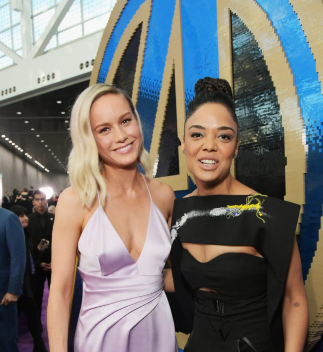 Brie Larson and Tessa Thompson attend the Los Angeles World Premiere of Marvel Studios' Avengers: Endgame at the Los Angeles Convention Center on April 23, 2019 in Los Angeles, California.
