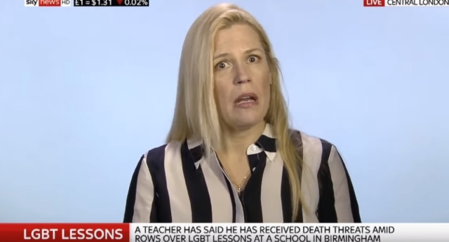 Caroline Farrow appearing on Sky News to oppose LGBT+ inclusive education