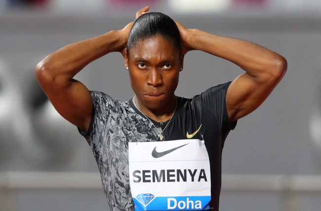 Caster Semenya of South Africa looks on prior to competing in the Women's 800 metres during the IAAF Diamond League event at the Khalifa International Stadium on May 03, 2019 in Doha, Qatar.
