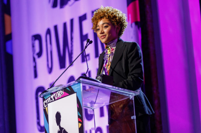Honoree Amandla Stenberg speaks onstage during the 2019 Essence Black Women in Hollywood Awards Luncheon at Regent Beverly Wilshire Hotel on February 21, 2019 in Los Angeles, California.