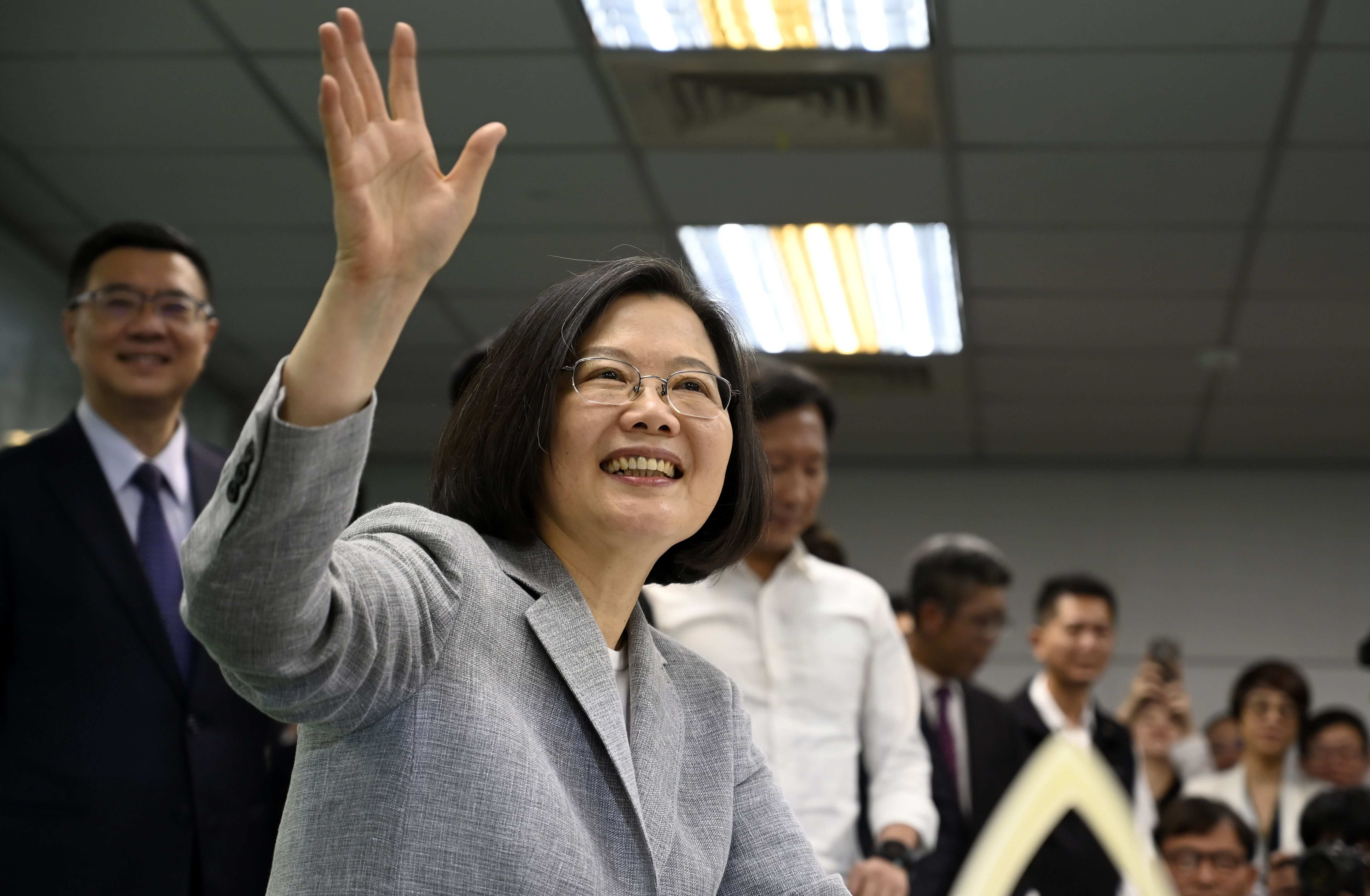 Taiwan's President Tsai Ing-wen waves while registering as the ruling Democratic Progressive Party (DPP) 2020 presidential candidate at the party's headquarter in Taipei on March 21, 2019. (SAM YEH/AFP/Getty)