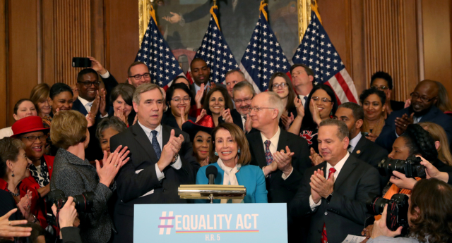 House Speaker Nancy Pelosi speaks during a news conference where House and Senate Democrats introduced the Equality Act of 2019 which would ban discrimination against lesbian, gay, bisexual and transgender people, on March 13, 2019 in Washington, DC. (Mark Wilson/Getty Images)