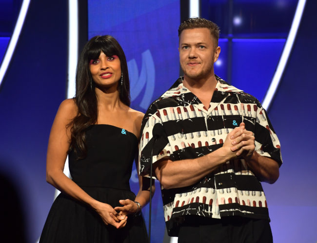Jameela Jamil and Imagine Dragons singer Dan Reynolds attend the 30th Annual GLAAD Media Awards Los Angeles at The Beverly Hilton Hotel on March 28, 2019 in Beverly Hills, California.