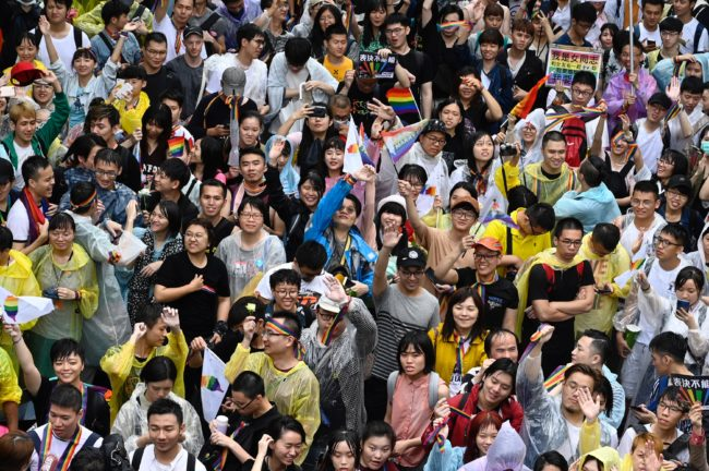 Supporters of same-sex marriage in Taiwan waited for the outcome of the vote outside the parliament in Taipei.