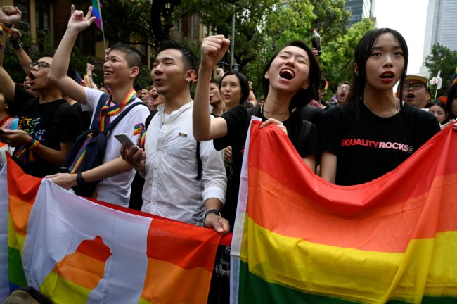 Supporters of same-sex marriage in Taiwan react to the vote on May 17.