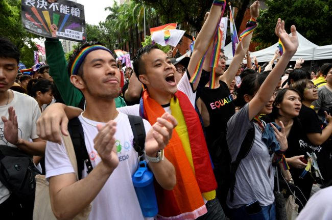 Supporters of same-sex marriage in Taiwan rejoice at the vote recognising marriage equality.