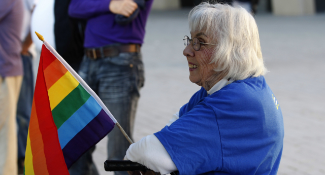 Older LGBT+ people face hurdles in accessing healthcare, social care. (George Frey/Getty)
