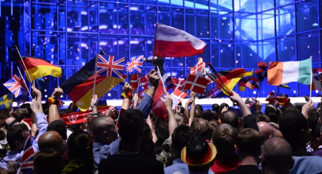 Supporters wave flags ahead of the Eurovision Song Contest 2014 Grand Final in Copenhagen, Denmark, on May 10, 2014.   (Jonathan Nackstrand/AFP/Getty)
