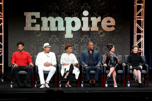 A photo of Empire stars including Terrence Howard, Taraji P. Henson, who demanded Jussie Smollett's character Jamal and the actor's return to the show.