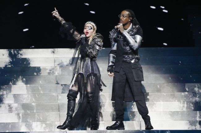 Madonna and Quavo, perform live on stage at the 64th annual Eurovision Song Contest. (Michael Campanella/Getty Images)