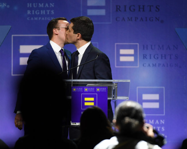 Chasten Glezman Buttigieg kisses his husband, South Bend, Indiana Mayor Pete Buttigieg, after he delivered a keynote address at the Human Rights Campaign's (HRC) 14th annual Las Vegas Gala at Caesars Palace on May 11, 2019 in Las Vegas, Nevada.