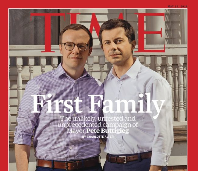 TIME Magazine dedicated the cover to gay presidential hopeful Pete Buttigieg and husband Chasten Buttigieg