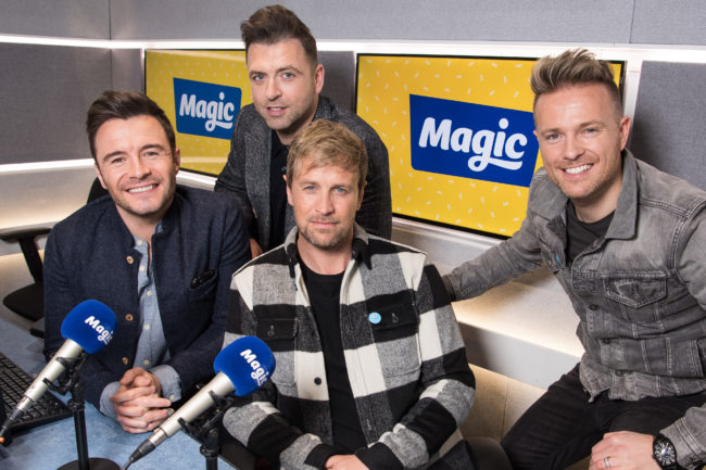 Shane Filan, Mark Feehily, Kian Egan and Nicky Byrne of Westlife visit Magic Radio on January 09, 2019 in London, England.