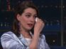 Anne Hathaway could not contain her excitement at meeting RuPaul. (The Late Show with Stephen Colbert/CBS)