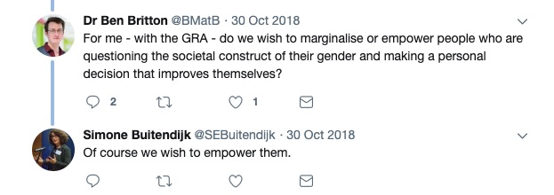 In a twitter exchange, mperial College London Vice-Provost Simone Buitendijk expressed support for empowering those who question gender construct.