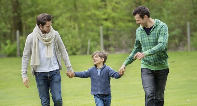 Stock photo of gay dads (Creative Commons)