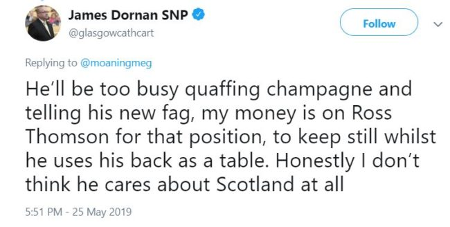 """Dornan said he had used the word context of """"public school boys being made to 'fag' for older pupils"""". (@glasgowcathcart/Twitter)"""
