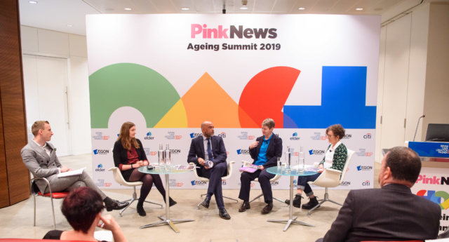 Chair Paul Brand, Laura Russell of Stonewall, Michael Brady, National adviser for LGBT Health for the NHS, Alice Wallace of Opening Doors London and Helen Jones of MindOut speaking at the PinkNews Ageing Summit 2019, at Adelaide House in London. The conference focused on raising awareness of the challenges that older LGBT+ people face. (Matt Crossick/PA Wire)