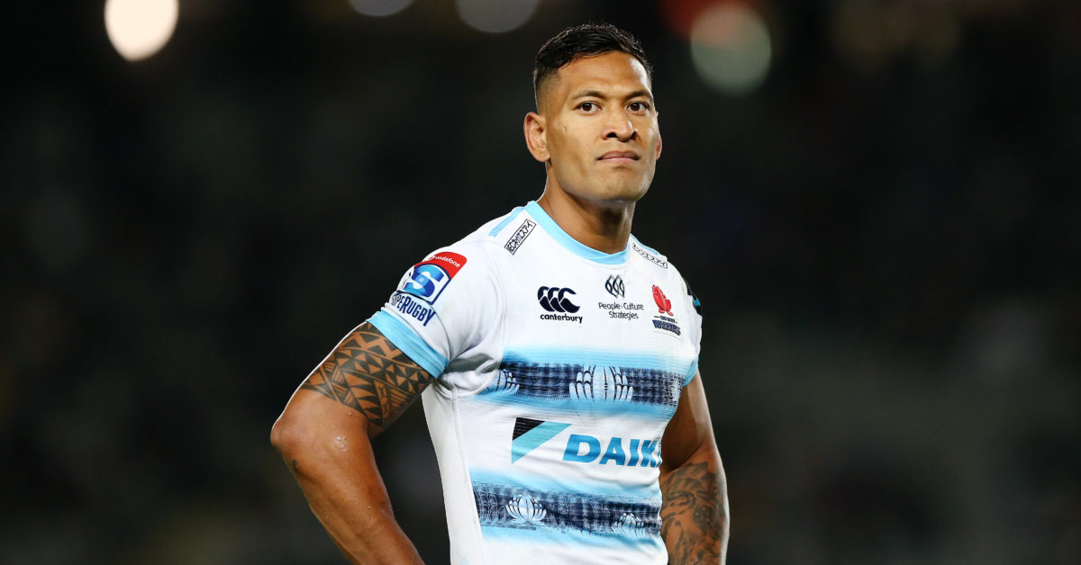 """Israel Folau posted messages claiming """"hell awaits"""" gay people. (Anthony Au-Yeung/Getty)"""