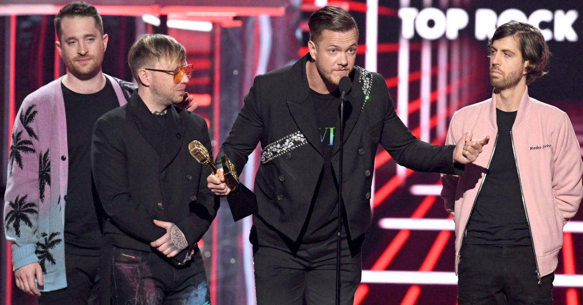 Daniel Platzman, Ben McKee, Dan Reynolds, and Wayne Sermon of Imagine Dragons accept the Top Rock Artist award onstage during the 2019 Billboard Music Awards at MGM Grand Garden Arena on May 01, 2019 in Las Vegas, Nevada. (Kevin Winter/Getty for dcp)