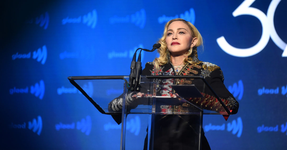 Madonna speaks onstage during the 30th Annual GLAAD Media Awards New York at New York Hilton Midtown on May 04, 2019 in New York City. (Jamie McCarthy/Getty Images for GLAAD)